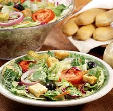 Salad and breadsticks