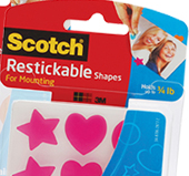 Scotch restickable shapes