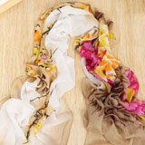 Picapica Peony Flower Print Chiffon Scarf coupon pro